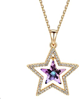 Niumike Lucky Star Pendant Necklace with Crystal from Swarovski,Rose Gold-Plated Chain Sparkling Necklace