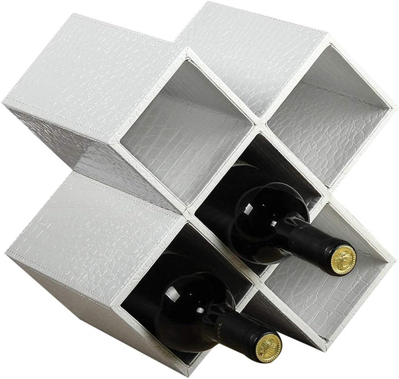 WAN SAN QIAN- European Style Decoration Wine Rack Wine Cabinet Decoration Creative Lattice Bottle Rack Flexible Placement Wine rack (color   White, Size   27.5 × 20 × 28cm)