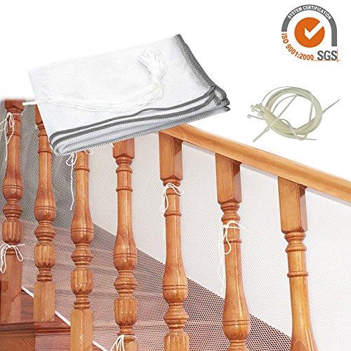 Luerme Baby-Fallschutznetz, Kinder-Sicherheitsnetz, 3 Meter, für Balkon, Treppengeländer, Zaun für Baby, Kleinkind, Kinder, Haustier, grau
