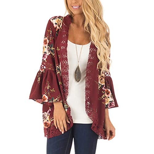 90465e5d59c Womens Floral Loose Bell Sleeve Kimono Cardigan Lace Patchwork Cover Up Blouse  Top