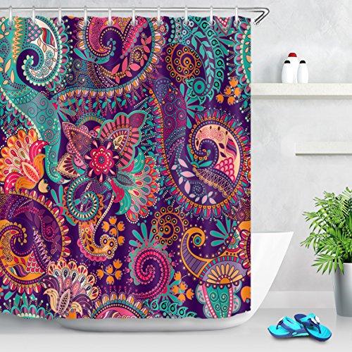 LB Duschvorhang Bohemien 180x200cm Paisley-Mandala-Muster Bad Vorhang mit Haken Extra Lang Polyester Wasserdicht Antischimmel Badezimmer Gardinen