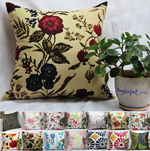 TangDepot 100% Cotton Floral/Flower Printcloth Decorative Throw Pillow Covers /Handmade Pillow Shams, 14 Color and 10 Size options, Light Black, Peach Blossom, Red Rosebush, Red And Green Leaf, White Magnolia, Fantastic Flowers, Chrysanthemum, Peony, Red And Navy Flower, Blue Floral, Pink Floral, Blue Wheel, Red Wheel, Tree Rings, 12' x 12', 12' x 18', 12' x 20', 14' x 14', 16' x 16', 18' x 18', 20' x 20', 22' x 22', 24' x 24' and 26' x 26' - (16'x16', S09 Red And Navy Flower)