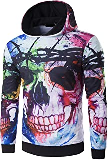 8350a72af5b Rambling 2018 Men s Autumn Winter Fashion Blouse 3D Skull Print Lacquer  Head Hat Sweater