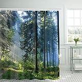 Alishomtll Wald Duschvorhang, Grün Antischimmel Duschvorhänge Textil Wasserdicht Shower Curtains Badewanne Waschbar mit 12 Haken, 180x200 cm
