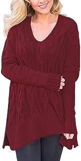 Mujer Tejer Arriba Top Primavera Otoño Jerseys Elegante Moda Hipster Informales Modernas Casual Vintage Pullover Punto V-C...
