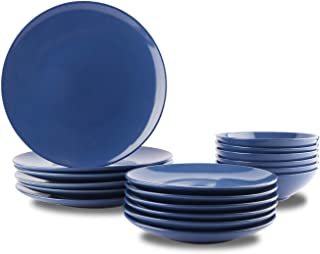 AmazonBasics 18-Piece Stoneware Dinnerware Set - Royal Blue, Service for 6