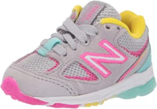 New Balance Girls' 888v2 Running Shoe, Grey/Rainbow, 1 XW US Little Kid