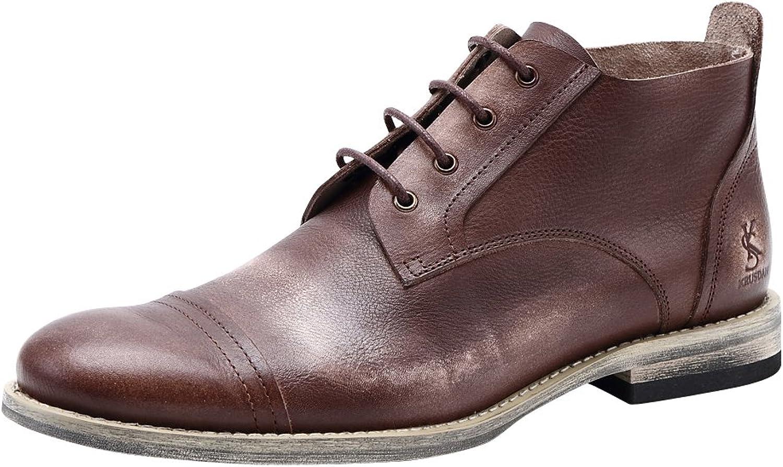 Tortor 1bacha Men's Retro Leather Captoe Derby Oxford Boots