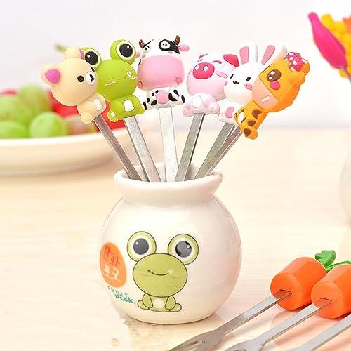 Fruit Fork, Cute Set of 6 Fruit Forks with Holder Stainless Steel Food Pick Forks for Kids Home