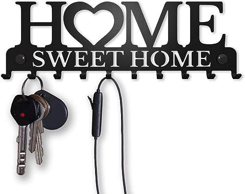 Porte-Clés Mural Accroche Clef Sweet Home Décoratif (10 Crochets), Patère en Métal pour Porte d'Entrée, Cuisine ou Ga...