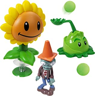 Action Figures for 3 Year Up Kids Pop Mobile Game Characters Plants vs Zombies Shooting Game Toy Set with Sunflower Cabbag...