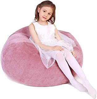 Lukeight Stuffed Animal Storage Bean Bag Chair, Bean Bag Cover for Organizing Kid's Room - Fits a Lot of Stuffed Animals, X-Large/Pink