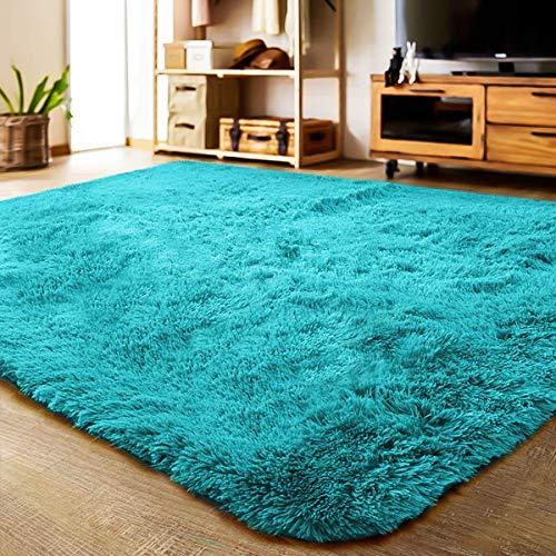 LOCHAS Ultra Soft Indoor Area Rug Shaggy Bedroom Living Room Carpets for Kids Nursery Room, 5.3 x 7.5 Feet Blue