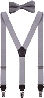 Shark Tooth Boys' Mens' Suspenders and Bow Tie Set Adjustable Metal Clips