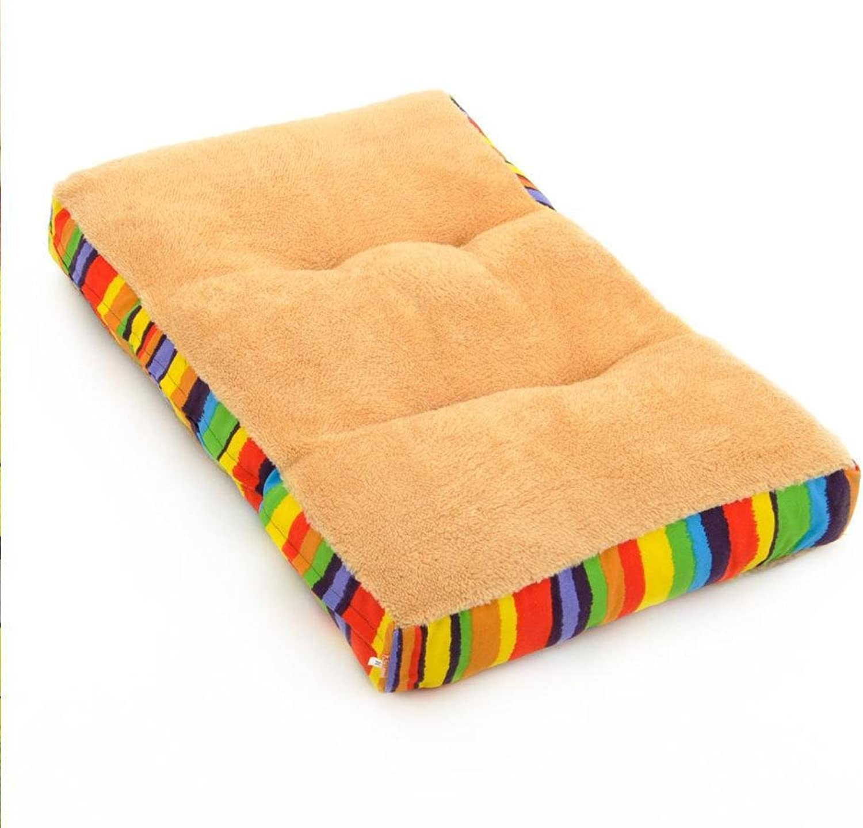 BiuTeFang Pet Bolster Dog Bed Comfort Washable and removable dog mat mattress pet kennel sleeping brown lamb Hair