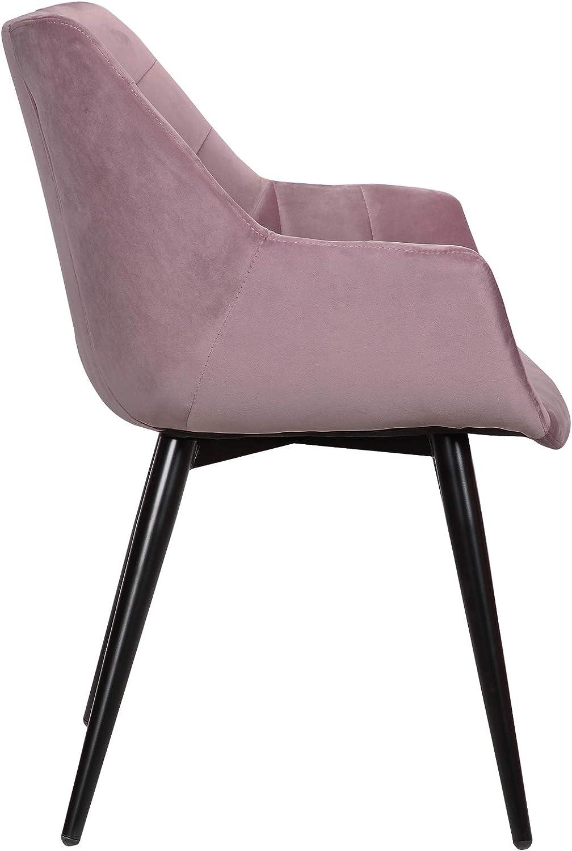 eSituro Lot de 2 Chaises de Salle à Manger en Velours piètements en métal,Chaise de Cuisine Rose SDC0163-2 Rose