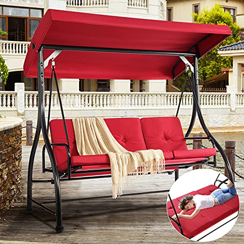 Aoxun Patio Swing Chair with Canopy and Stand - Convertible Daybed Swing, Outdoor Backyard Bench Swing for Adults, Ultra Stable for Max. 530 lbs, Red