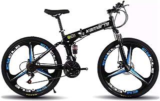 Mountain Bike,Bicicleta de montaña Plegable 26 Pulgadas,Todoterreno Adultos, velocidades 21,24,27, neumáticos Resistentes y Freno de Doble Disco,3 cortadores de Rueda,Negra VIHII,21-Speed Shift