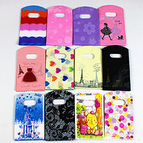 100 piezas de plástico brillante pequeña mercancía bolsas joyas accesorios Boutique bolsas con asas, Colork al azar, 3.5