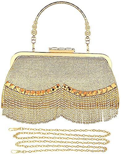 Bolso de embrague dorado para mujer, bolso de mano brillante de noche, borla de boda, bolso de mano de mano de mano para mujer, bolso de mano de diamantes de imitación para mujer