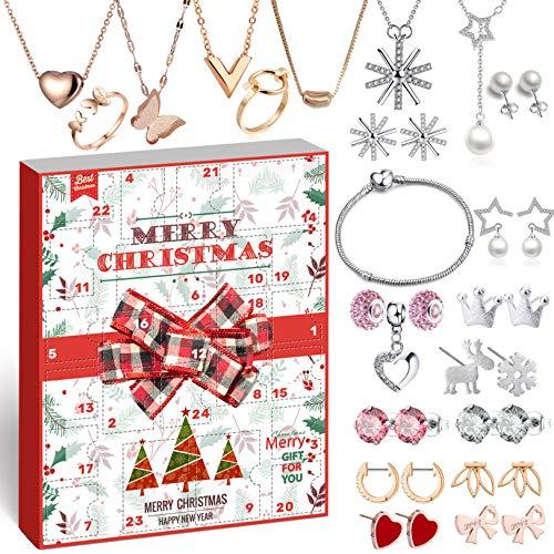 iZoeL Schmuck Adventskalender 24 Überraschungen schöne Schmuckstücke wie Charms Ohrringe Ketten Armbänder Schmuckkalender Frau Mädchen