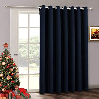 RYB HOME Sliding Door Curtains - Blackout Room Curtains Grommet Room Divider for Loft School Library Cloakroom Hallway Living Room Backdrop, W 100 x L 120, Navy Blue