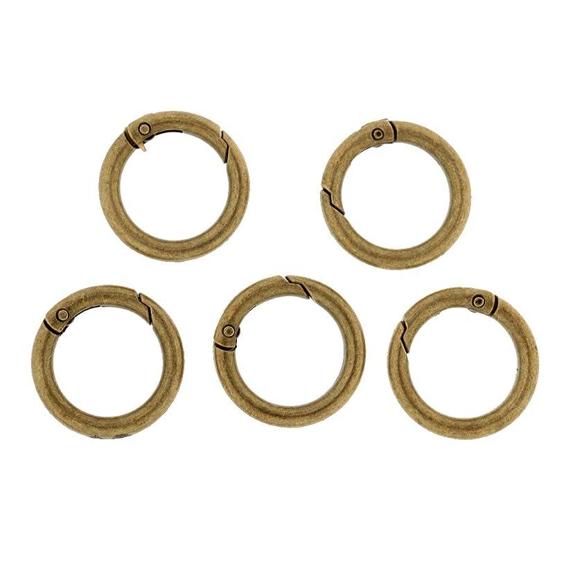 後リル重荷KOZEEY 5個 金属 ラウンド サークル カラビナ スプリング スナップクリップ フック キーリング バックパック バックル 全5色