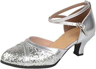 BOZEVON Women's Sequin Criss Cross Latin Dance Shoes Closed Toe Heel Pump
