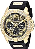 GUESS Comfortable Gold-Tone Black Stain Resistant Silicone Watch with Crystal Embellished Day, Date + 24 Hour Military/Int'l Time. Color: Black (Model: U1132G1)