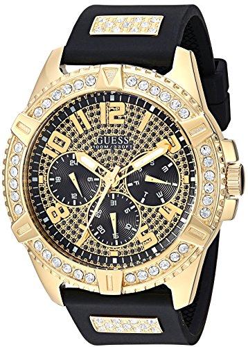 GUESS Cómodo Reloj de Silicona Negro Resistente a Las Manchas con Cristal Adornado día, Fecha + 24 Horas Militar/Hora Internacional. Color: Negro (Modelo: U1132G1)