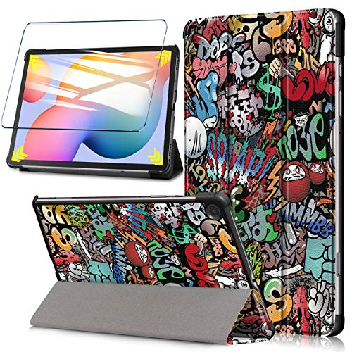HYMY Coque pour Tablet Lenovo Tab M10 FHD Plus TB-X606F/X606 + 1 x Film Protection d'écran en Verre Trempé - Flip Cover Etui Bumper avec Support Fonction Housse