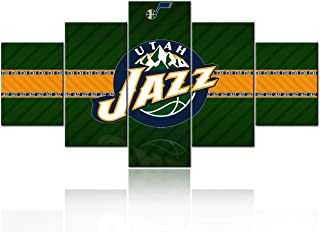 NBA All-Star Game Pictures for Living Room Canvas Wall Art Native American Basketball - Utah Jazz Logo Painting Modem Artwork for Wall Home Decor Poster Prints Wooden Frame Ready to Hang - 60''Wx32''H