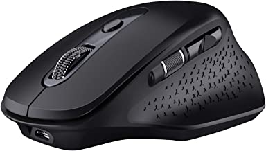 VicTsing Pioneer Wireless Bluetooth Mouse Rechargeable, Ergonomic Mouse 3 Mode Bluetooth & USB Supported with Side Scroll Wheel, 5 Levels Adjustable DPI for Laptop Computer Windows/Mac/Android-Black