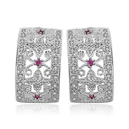 NYKKOLA Nueva moda hermosa joyería Classic 925Sterling chapado en plata cristal Pendientes de aro