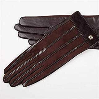 SHENTIANWEI Women's Leather Gloves All Touch Screen Autumn and Winter Knitted Gloves (Color : Brown, Size : L)
