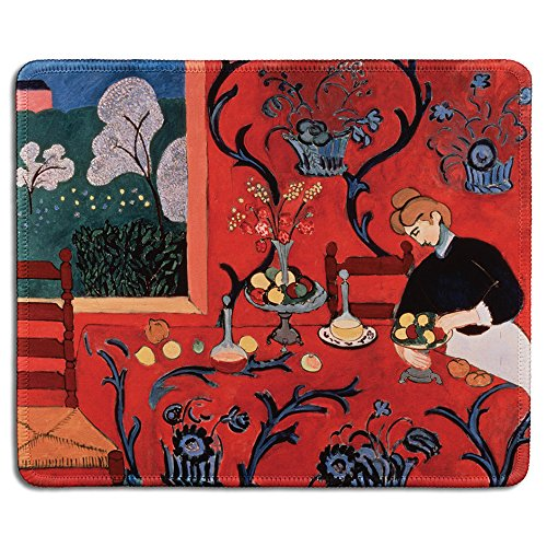 dealzEpic - Art Mousepad - Natural Rubber Mouse Pad with Famous Fine Art Painting of Harmony in Red by Henri Matisse - Stitched Edges - 9.5x7.9 inches