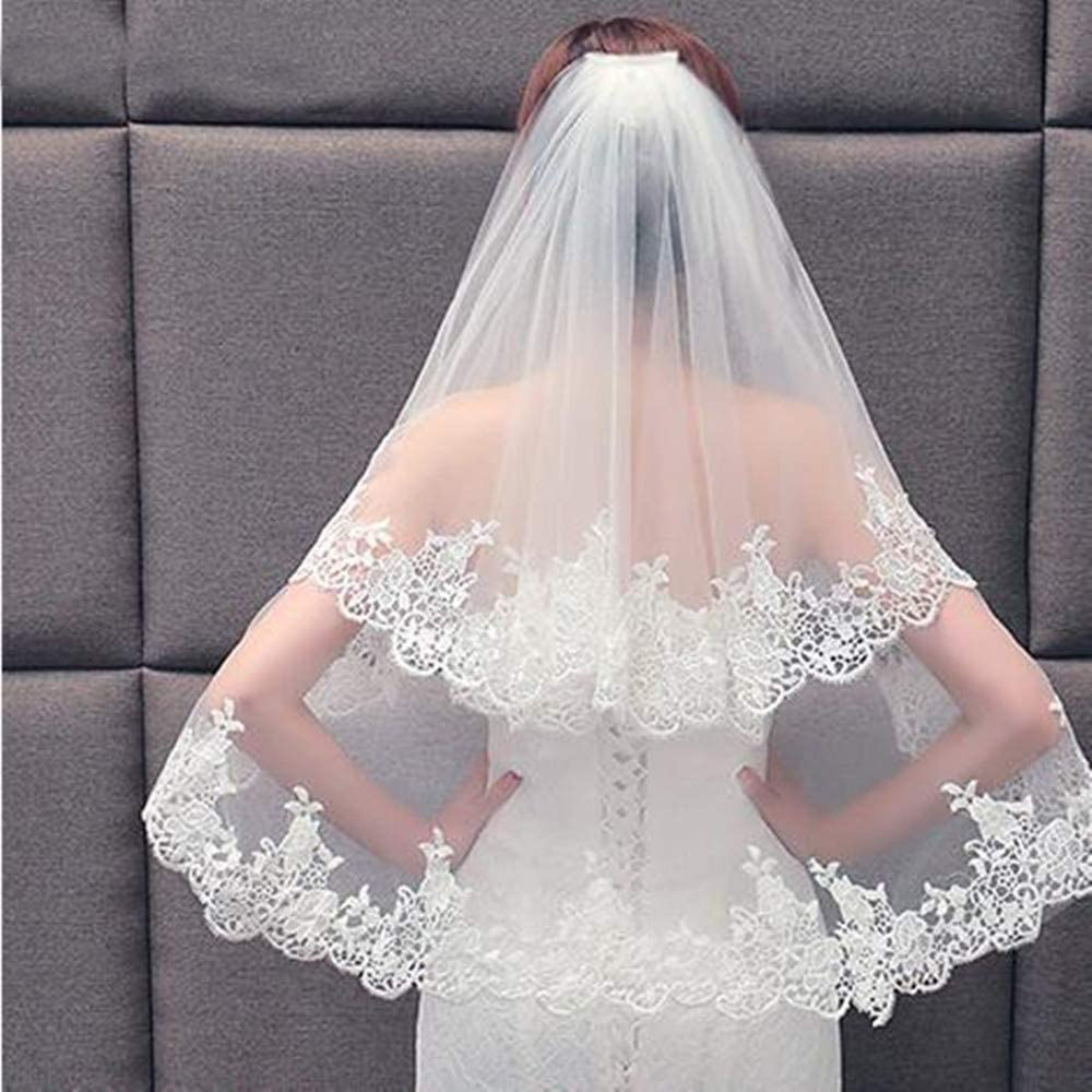 feiren Quality inspection Elegant Two Layers Lace Bridal Comb with Women Veil Max 42% OFF Weddi