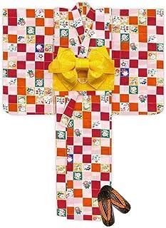浴衣 こども 女の子 浴衣 セット 120 レトロ モダン子供浴衣 作り帯 下駄 3点セット「赤 市松」TSW11-813-setC