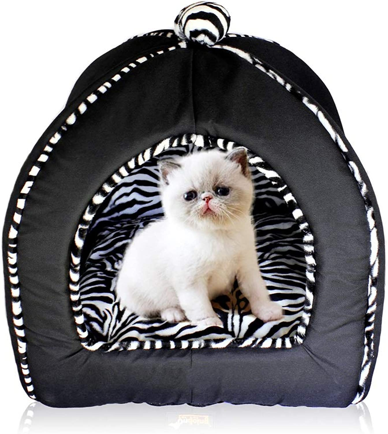 C_1X Cat Litter Kennel, Yurt Dog House, Cat Tent, Small Dog Kennel, Cat Bed, Pet Supplies, (33  32cm Black) (color   Black, Size   33  32cm)