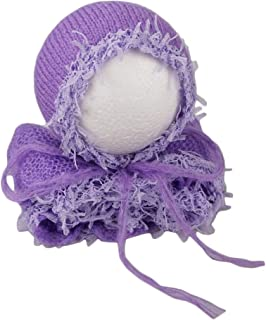 Zeroest Baby Photography Props Luxurious Lace Hat with Blanket Newborn Photo Shoot Outfits Infant Princess Photos Hats Wrap Set (Purple)