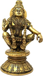 ShalinIndia Hindu Deity God of Growth Ayyappa Son of Vishnu and Shiva Brass Murti for Puja Temple Home