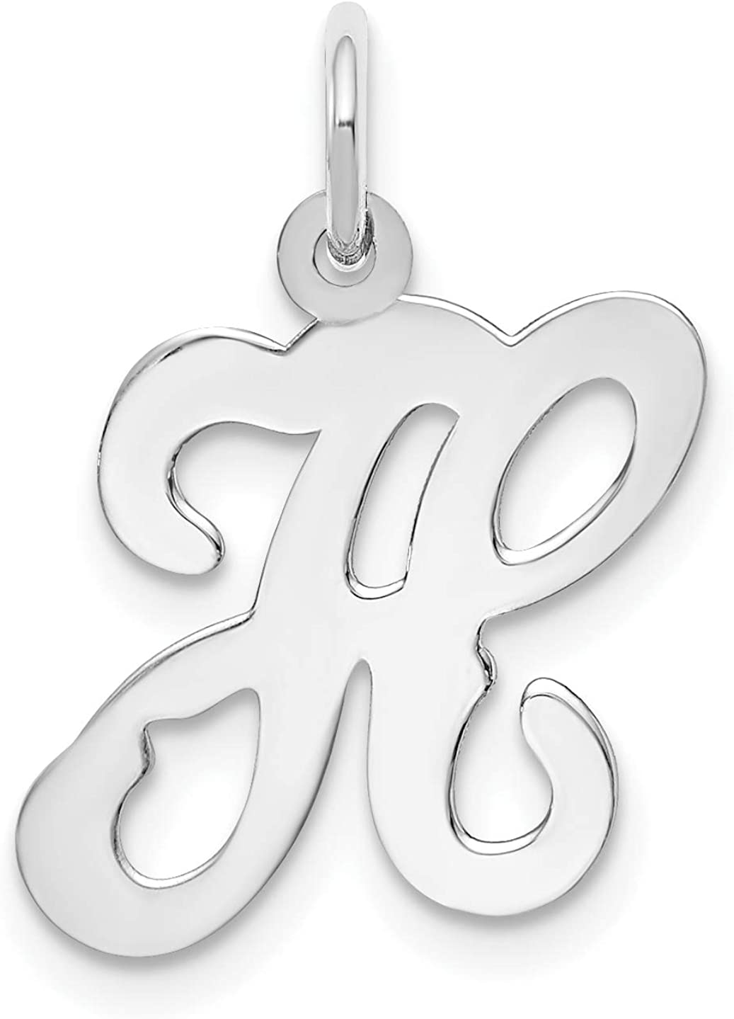 Sales of SALE items from new works wholesale 14KW White Gold Script H Letter Charm Initial