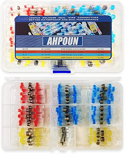 Ahpoun 120pcs Solder Seal Wire Connectors, Solder Heat-Shrinkable Butt Connectors, Waterproof Automotive, Marine and ...