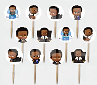 Black Boss Baby Cupcake Picks Double-sided Images Cake Topper -12 pcs African American