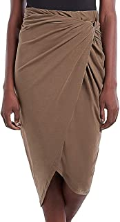 Our Heritage – Women's Draped Wrap Elastic Waist Pencil Skirt with Knot Front
