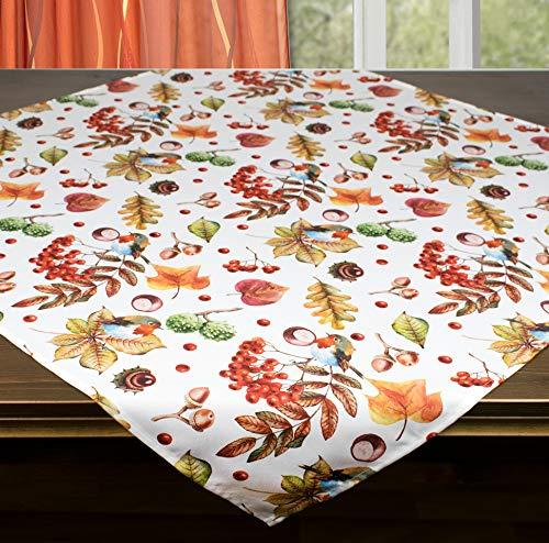 Kamaca, tovaglia centrotavola con pettirosso in giardino, di alta qualità, motivo decorativo autunno inverno (tovaglia 85 x 85 cm)