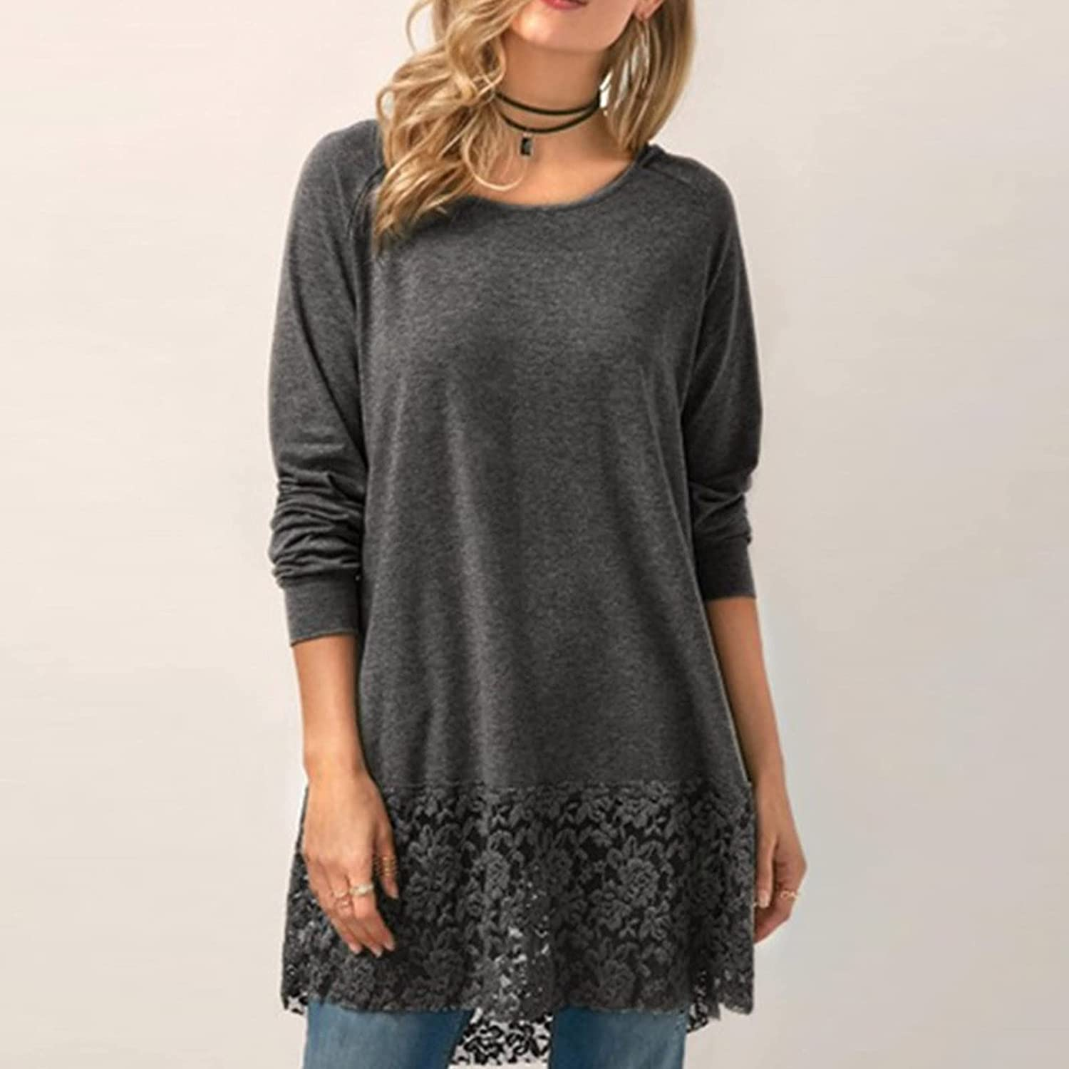 Women's Solid Color Tops Long Flowy T Shirt Round Neck Short Sleeve Tee Tunics for Women to Wear with Leggings Dressy