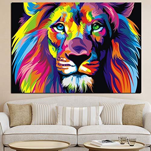 ganlanshu Pintura sin Marco Acuarela león Abstracto Animal Pintura al óleo póster y decoración de la Sala de Arte Pop sobre lienzoCGQ6731 60X90cm