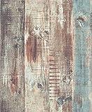 Paneles de papel pintado con efecto de madera, de Blooming, vintage, para salón, dormitorio o baño, 52,8 cm x 10 m, 5,28 m², color azul, marrón y gris