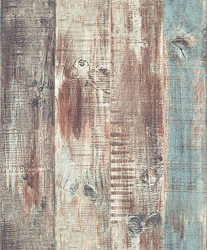 Blooming Wall Vintage Wood Panel Wood Plank Wallpaper Rolls Wall Paper Wall Mural for Livingroom Bedroom Kitchen Bathroom, 20.8 In32.8 Ft=57 Sq.ft,Multicolored
